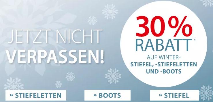 30% Rabatt auf alle Stiefel, Stiefeletten und Boots im