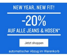 20% Sofortrabatt auf Jeans und Hosen im Tom Tailor Onlinestore