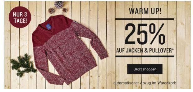 Jacken und Pullover mit 25% Rabatt