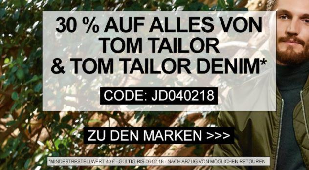 Letzter Tag! 30% Rabatt auf Alles von Tom Tailor und Tom Tailor Denim bei Jeans-Direct ab 40,- Euro MBW