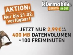 Endet heute! Klarmobil Smart 400 Tarif im Telekom-Netz mit 100 Min & 400MB für 2,99 Euro monatlich und dazu 24,- Euro Amazon Gutschein geschenkt!