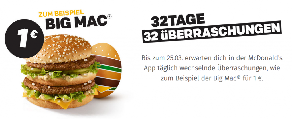 McDonalds Osteraktion Big Mac für 1€