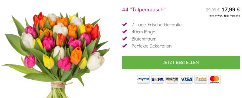 44 bunte Tulpen für 22,98 Euro inkl. Versand bei Blumeideal