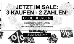3 für 2 Aktion auf alle Sale Artikel bei Jeans-Direct