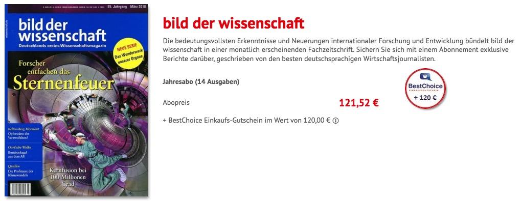 Bild Der Wissenschaft Jahresabo Nur 12152 Euro Als Prämie 120