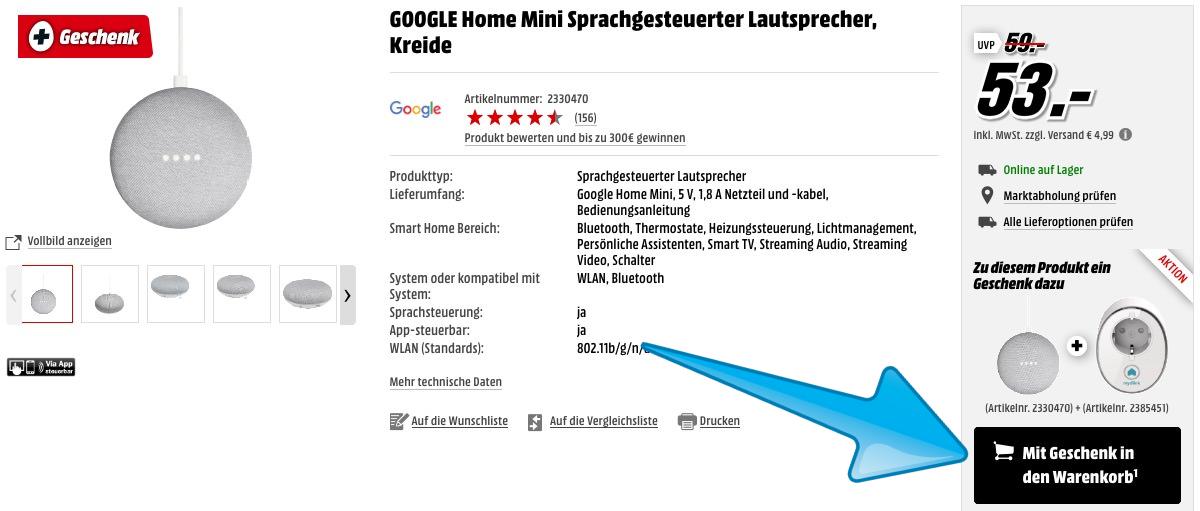 knaller google home mini inkl d link dsp w115 steckdose. Black Bedroom Furniture Sets. Home Design Ideas