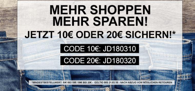 Bis zu 20,- Euro Extra-Rabatt auf alle Artikel bei Jeans-Direct im Online-Shop