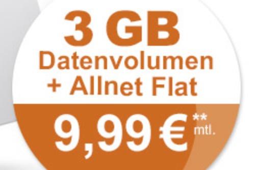 Klarmobil AllNet Spar Flat mit 3GB Datenvolumen für nur 9,99 Euro monatlich