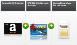 Klarmobil Smartphone Flat 1000 mit 100 Min. + 1GB Daten für 4,99 € mtl. und dazu 25,- Euro Amazon Gutschein + 100,- Euro Holidaycheck Gutschein