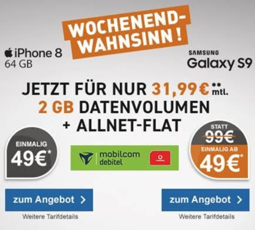 MD Vodafone Comfort Allnet-Flat mit 2GB Daten für mtl. 31,99 Euro + iPhone 8 für 4,99 Euro oder Galaxy S9 für 49,- Euro