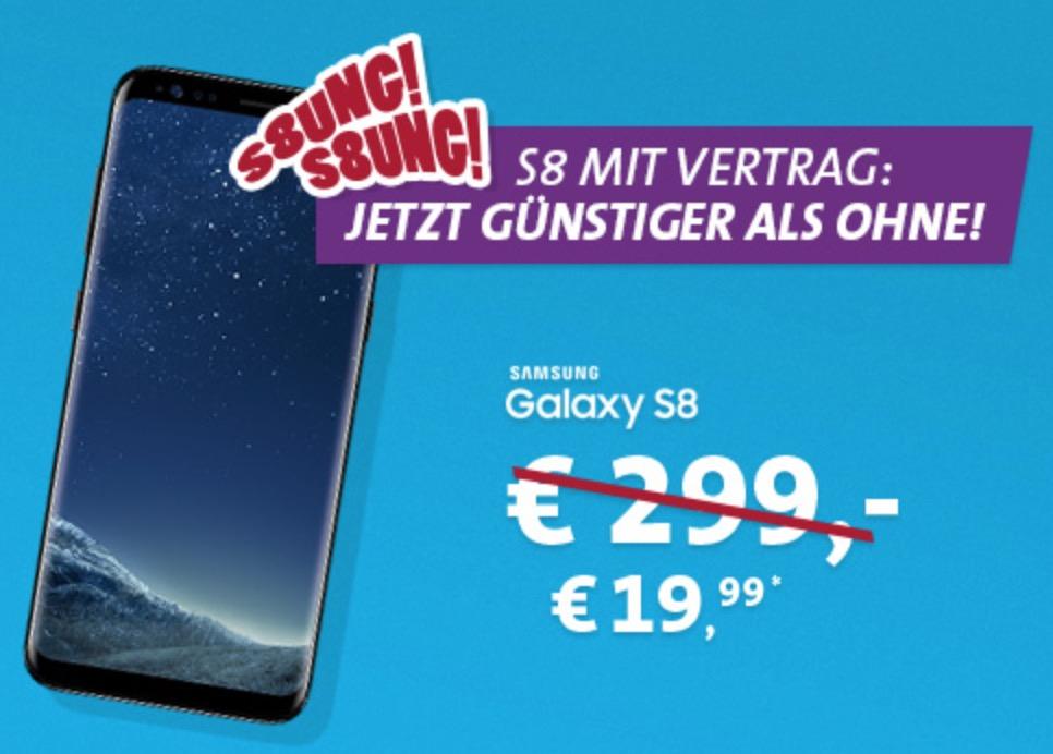 Knaller! Blau Allnet XL mit 4GB Daten mtl. 19,99 Euro + Samsung Galaxy S8 für einmalig 19,99 Euro