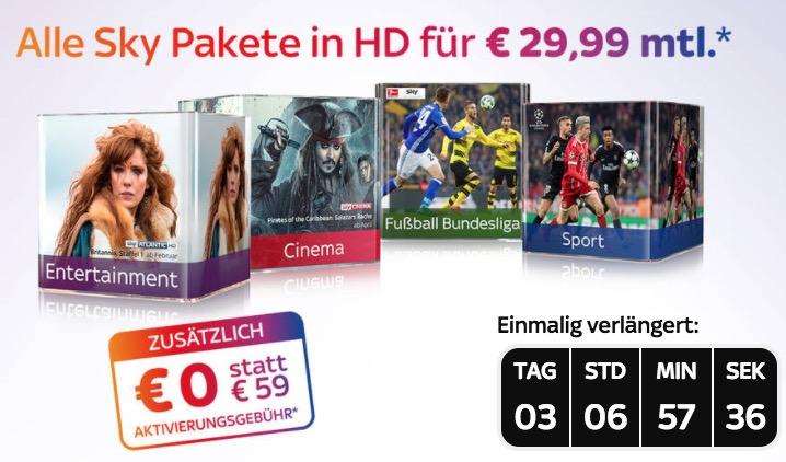 Letzter Tag! Sky Komplett Paket mit Entertainment und allen Premium-Paketen (Cinema, Sport und Bundesliga) inkl. HD nur 29,99 Euro mtl.