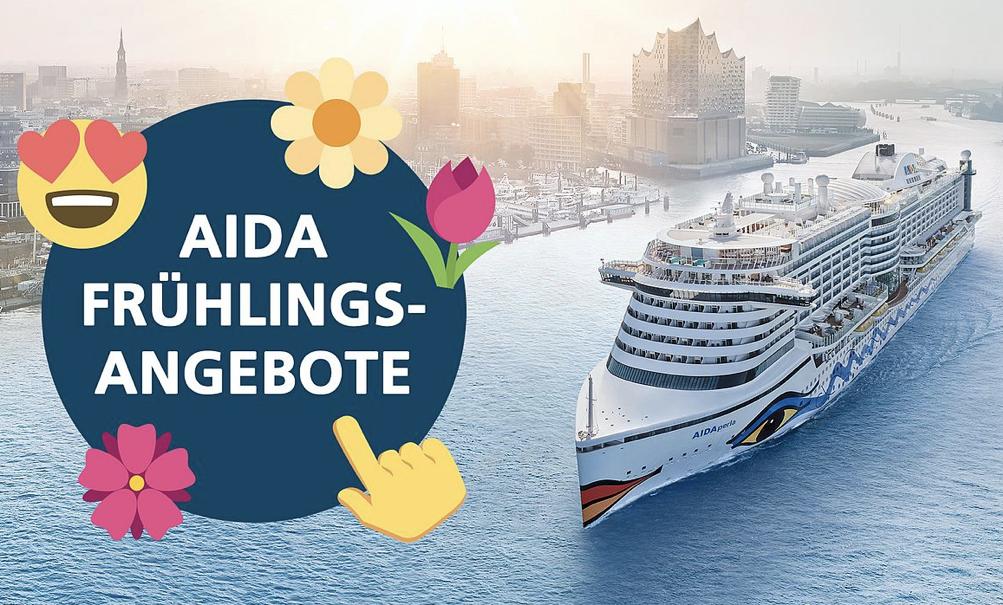 AIDA Frühlings-Angebote z.B. 4 Tage Nordeuropa ab Hamburg mit Vollpension + 50,- Euro Spa-Gutschein p.K nur 349,- Euro