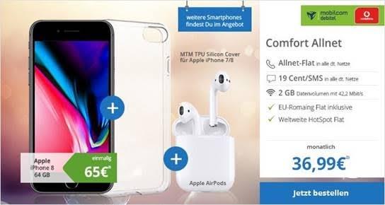 Geht noch! MD Vodafone Comfort Allnet Tarif mit 2GB Daten + iPhone 8 64GB und Apple Airpods für 36,99 Euro mtl. und einmalig 65,- Euro