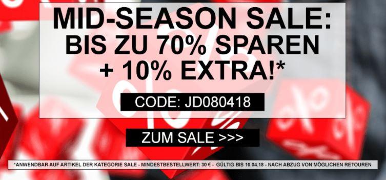 Midseason Sale mit bis zu 70% Rabatt + 10% Extra-Rabatt auf alle bereits reduzierten Artikel bei Jeans-Direct