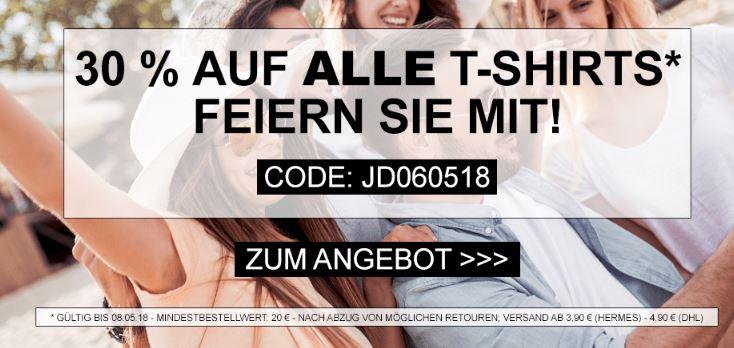 30% Rabatt auf alle T-Shirts im Sortiment bei Jeans-Direct (MBW: 20,- Euro)