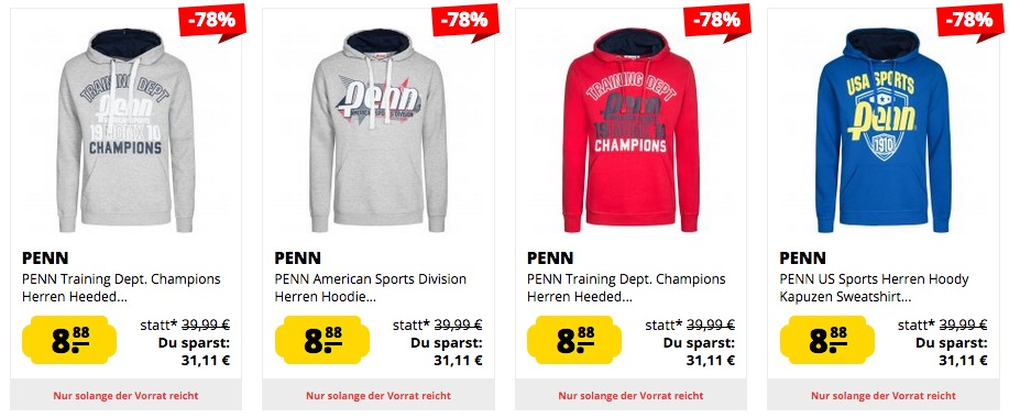 Penn US Sports Herren Hoodies nur 8,88 Euro