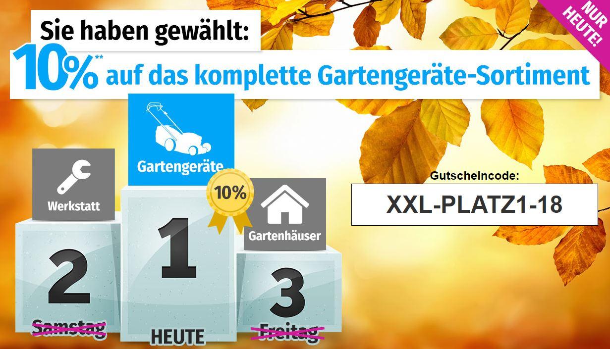 Nur noch heute: 10% Rabatt auf Gartengeräte bei GartenXXL