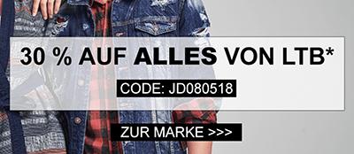 30% Rabatt auf alle Produkte der Marke LTB bei Jeans Direct – kein Mindestbestellwert!