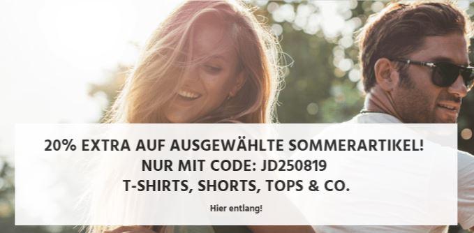 20% Rabatt auf ausgewählte Sommerartikel bei Jeans-Direct (T-Shirts, Shorts, Tops etc.)