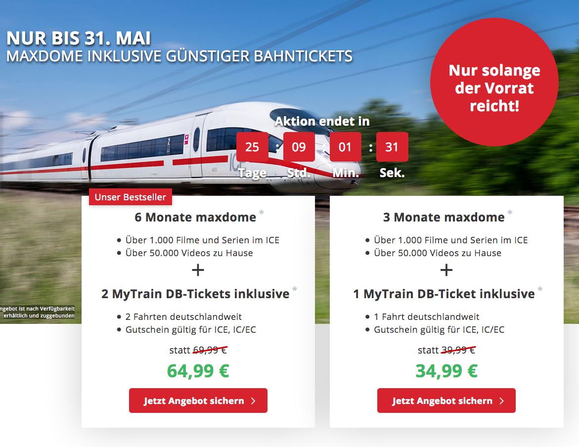 Nochmal 5,- reduziert! 2x ICE Bahntickets + 6 Monate Maxdome nur 64,99 Euro – oder 1 Ticket 34,99