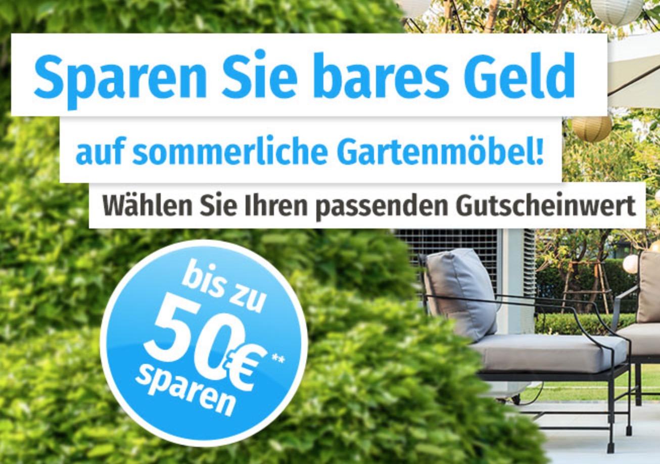 10,- Euro bis 50,- Euro Rabatt auf Gartenmöbel bei GartenXXL (gestaffelt nach Bestellwert)!