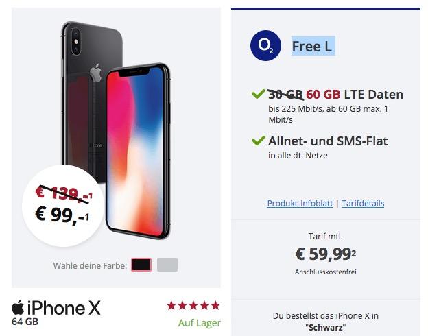 O2 Free L Allnet-Flatrate mit SMS und 60GB LTE nur 59,99 Euro + für 99,- Euro Zuzahlung das Apple iPhone X 64GB