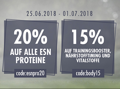 20% Rabatt auf alle ESN Proteine + 15% Rabatt auf Booster, Nährstoffe & Vitalstoffe bei Fitmart