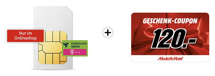 10GB LTE-Flatrate (Telekom-Netz) nur 9,99 Euro monatlich – dazu MediaMarkt Coupon über 120,- Euro
