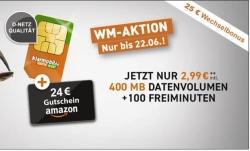 Klarmobil Smart 400 Tarif im Telekom-Netz mit 100 Min & 400MB für 2,99 Euro monatlich und dazu 24,- Euro Amazon Gutschein geschenkt!