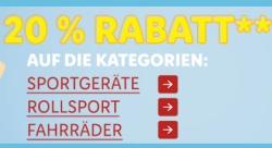 Nur heute 20% Rabatt auf Sportgeräte, Rollsport und Fahrräder im LIDL Onlineshop