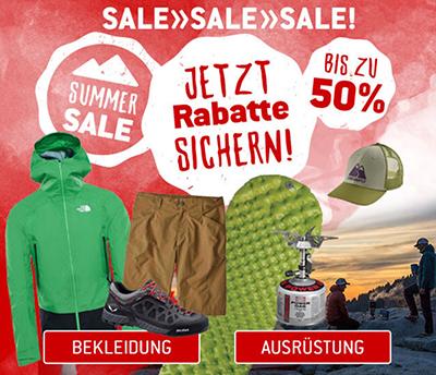 Bis zu 50% Rabatt im Summer Sale + 10% Extra-Rabatt im Bergfreunde Onlineshop