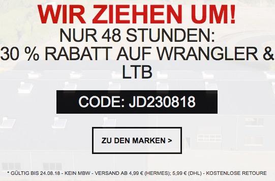 30% Extra-Rabatt auf Wrangler und LTB bei Jeans-Direct im Online-Shop