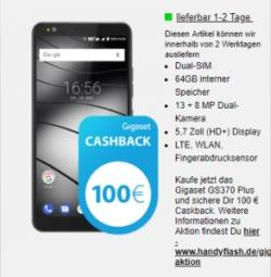 Vodafone DataGo M Datenflat mit 5GB + Gigaset GS370 Plus Smartphone und 100,- Euro Cashback nur 17,49 Euro monatlich!