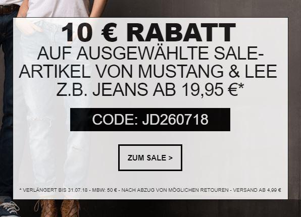 Großer Lee und Mustang Sale + 10% Extra-Rabatt auf ausgewählte Produkte bei Jeans-Direct