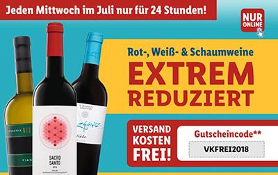 LIDL: Wein Happy Hours mit stark reduzierten Rot-, Weiß- & Schaumweinen + kostenloser Versand ab 29,- Euro