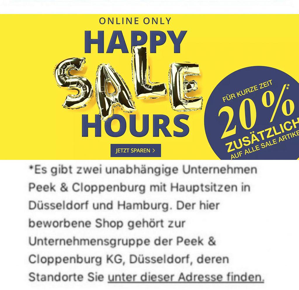 6c3ab2516738ce Nur bis 10 00 Uhr  20% auf alle Sale Artikel bei Peek   Cloppenburg  -  Snipz.de