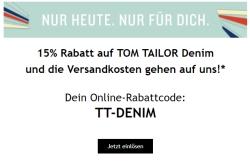15% Rabatt auf die Tom Tailor Denim Collection + kostenloser Versand