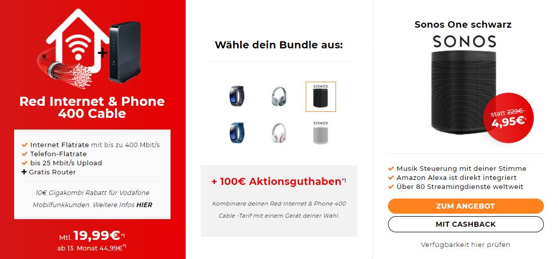 Red Internet & Phone 400 Cable bei Handyflash durch verschiedene Zugaben für effektiv 15,65 Euro im Monat