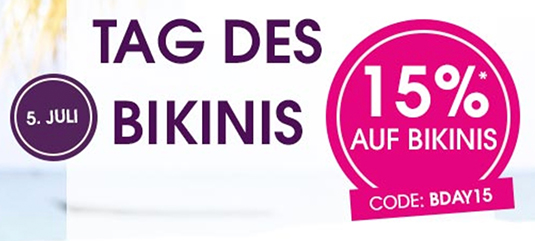 pretty nice 29bd8 e4e52 Nur noch heute: 15% Rabatt auf Bikinis & Badeanzüge im ...