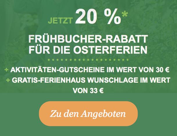 Osterferien 2019 jetzt bei Center Parcs buchen! 20% Frühbucher-Rabatt + Aktivitäten-Gutscheine + Wunschlage