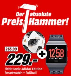 FITBIT Ionic Adidas Edition Smartwatch Aluminium für nur 229,- Euro inkl. Versand + Adidas Fußball gratis