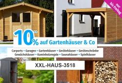 Nur 3 Tage: 10% Rabatt auf die Kategorie Gartenhäuser bei GartenXXL