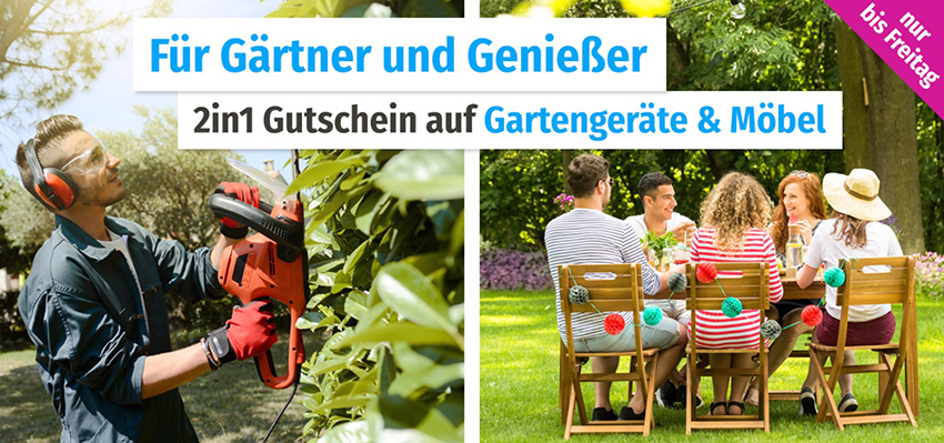 Letzter Tag: Bis zu 30,- Euro Rabatt auf Gartengeräte & Möbel im GartenXXL Onlineshop