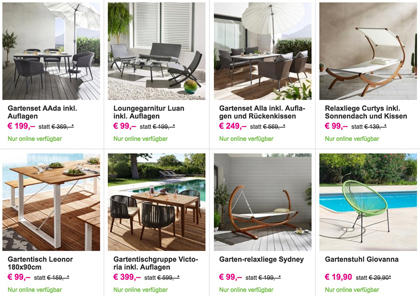 Nur heute: 25% Rabatt auf alle Exklusiv Online Gartenmöbel bei Mömax ...