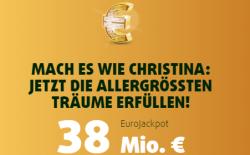 Heute 38 Mio. EuroJackpot! 3 Felder EuroJackpot nur 2,50 Euro für Lottoland Neukunden