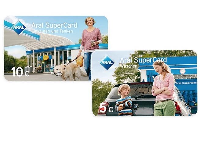 """Aral SuperCard """"Einkaufen & Tanken"""" über 10,- Euro + Aral SuperCard """"Waschen"""" über 5,- Euro zusammen nur 9,- Euro"""