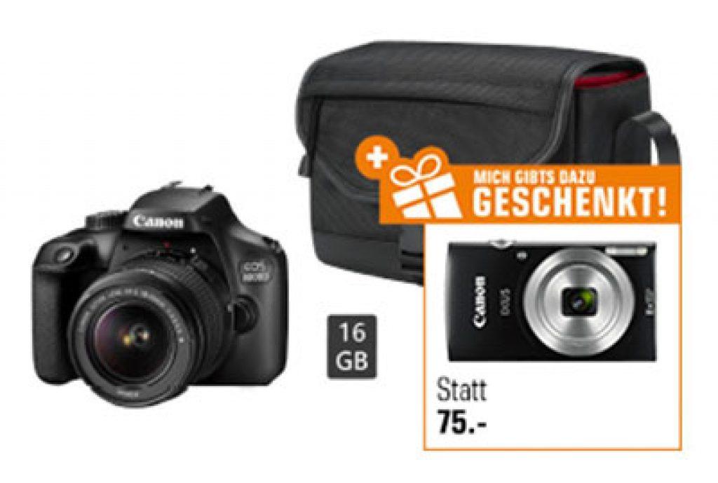 Canon EOS 4000D + 18-55mm Objektiv + Speicherkarte (16GB) + CANON Ixus 185 Digitalkamera