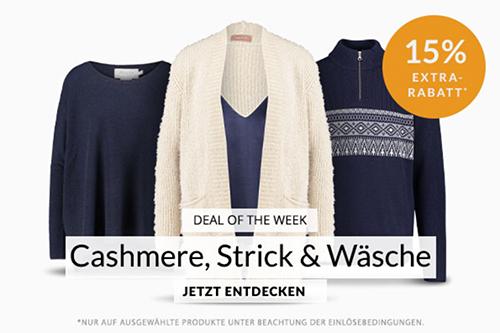 Engelhorn Weekly Deal mit 15% Rabatt auf Cashmere, Strick und Wäsche