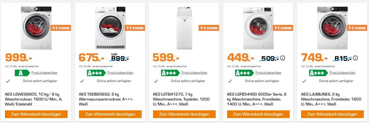 Saturn Haushaltswoche mit verschiedenen Angeboten der Marke AEG ...